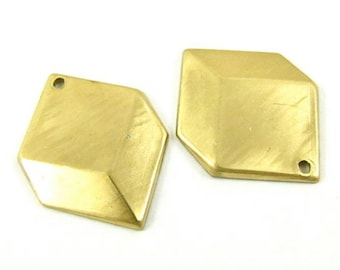 4 - Raw Brass 3D Looking Square Charms