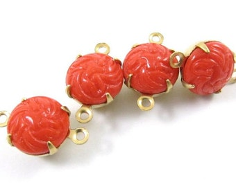 4 - Vintage Round Texture Glass Stones in 2 Rings Closed Back Brass Prong Settings Red - 9mm