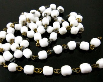 Vintage Dimpled Baroque Beaded Chain - 2 Feet .