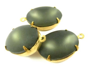 2 - Vintage Oval Glowing Stones in 1 Ring Closed Back Brass Prong Settings - Frosted Smoke Grey - 18x13mm .