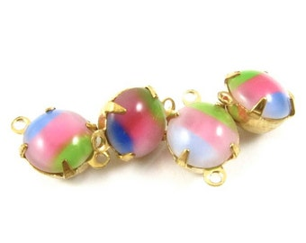 4 - Vintage Glass Round Stones in 2 Rings Closed Back 8mm Brass Prong Settings - Green Pink and Blue .