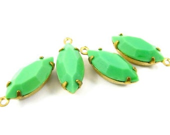 4 - Vintage Glass Faceted Navette Stones in 1 Ring Closed Back Brass Prong Settings - Opaque Green - 15x7mm