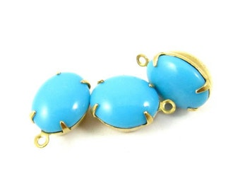 2 - Vintage Glass Oval Stones in 1 Ring Closed Back Brass Prong Settings - Blue Turquoise - 12x10mm .