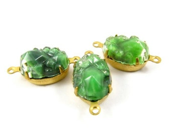 2 - VIntage Oval Bumpy Glass Stones in 2 Rings closed Back Brass Prong Settings - Green - 14x10mm