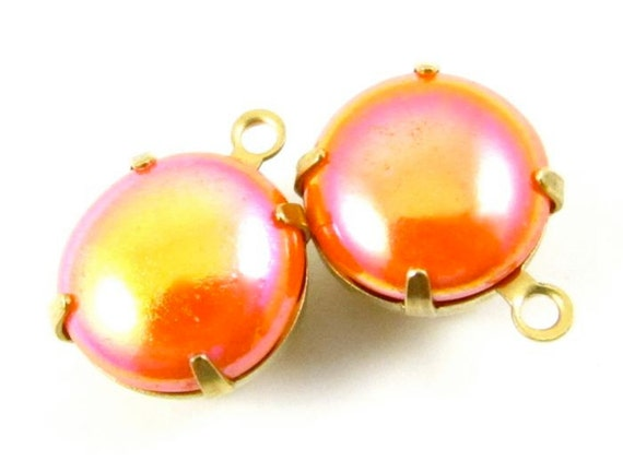 2 - 48ss Vintage Round Stones in 1 Ring Closed Back Brass Prong Settings -  Iridescent Tangerine Orange.