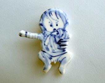 Sale - Baby Boy -  Handpainted Delft porcelain Brooch