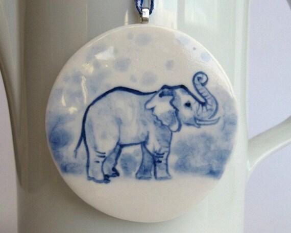 Elephant -  Handpainted Delft  Porcelain Ornament