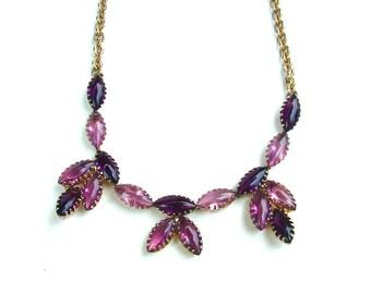 Vintage Amethyst Purple Lavender Rhinestone Necklace Faux Stone Jewelry