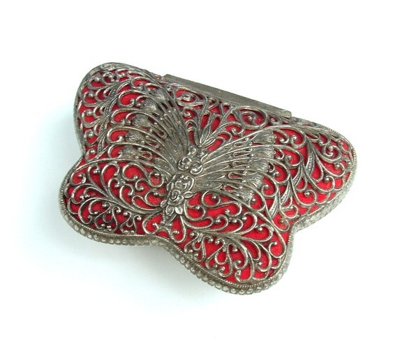 Vintage Jewelry Box, Butterfly Case Organizer Vanity Trinket Compartment Made in Japan