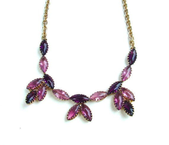 Vintage Amethyst Purple Lavender Rhinestone Necklace Faux Stone Jewelry