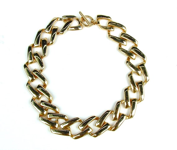 Classic Vintage Shiny Gold Large Link Chain Statement Necklace