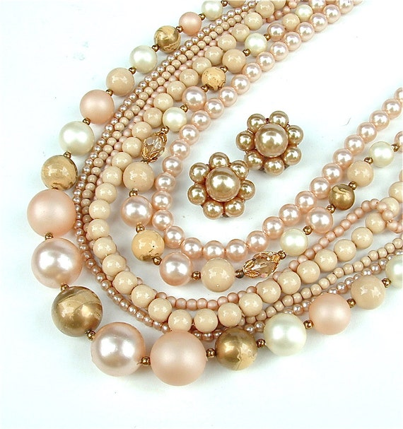 Supplies - Desert Blush - Repair - Vintage Beaded Multi Strand Necklace Jewelry Set