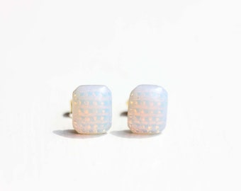 Hologram Studs, Faux Opal Studs, Milk Glass Studs, Shimmer Studs, Rectangle Studs, White Studs, Pink Studs, Geometric Studs, Unique Earrings