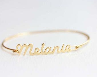 Melanie Name Bracelet, Gold Melanie Bracelet, Melanie Bracelet, Melanie, Name Bracelet, Gold Name Bracelet, Vintage Name Bracelet, Name Cuff