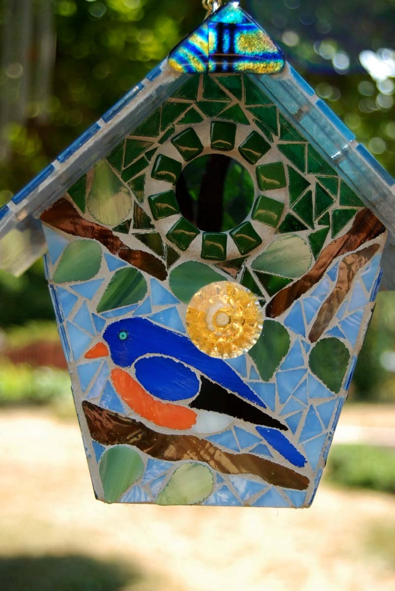 Bird House Stained Glass Mosaic Blue Bird
