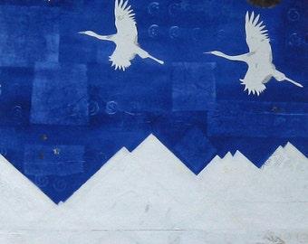 Flying Cranes Bird Art  Fine Art Giclee Print 8 x 10