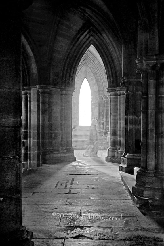 Photography Black and White Glasgow Cathedral Ghostly Image Light Shadow Stone Spirit Holy Scotland Home Decor