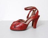 1940s Heels - Red Snakeskin Platform Sandals Size 6.5