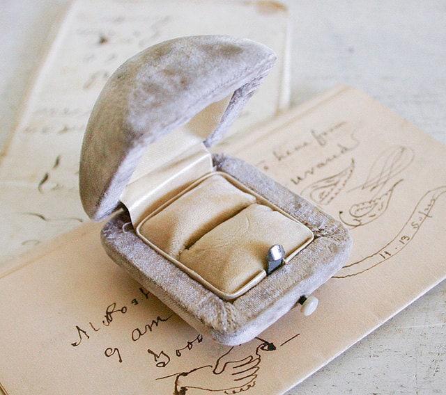 reserved for vintage engagement ring box velvet