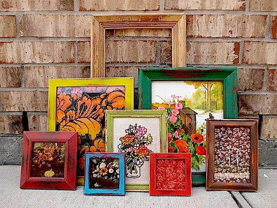 Upcycled - Eclectic Bohemian - COLOR PUNCH - Vintage Picture Frame - Picture- Fabric Wall Art Collection - Boho CHIC