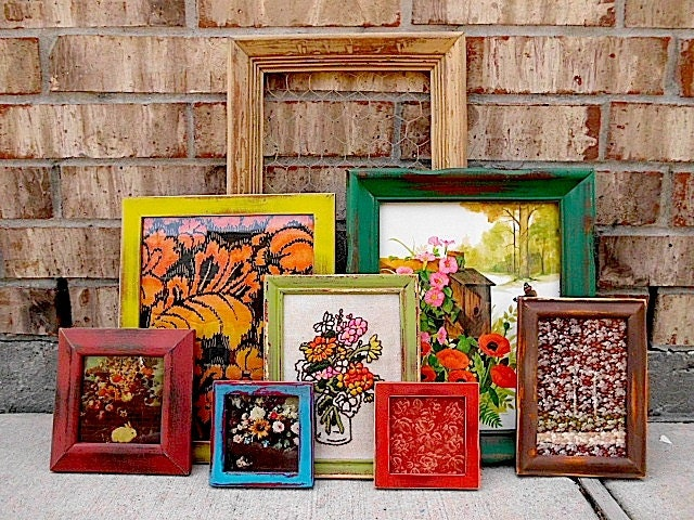 Upcycled eclectic bohemian color punch vintage picture - Eclectic picture frame wall ...