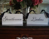 ReSTRooM SiGns - Gentlemen and Ladies Room Signs -  SCRipT STyLe Lettering - Custom Wedding SIGNS - No Distressing - WHITE -  12 x 5