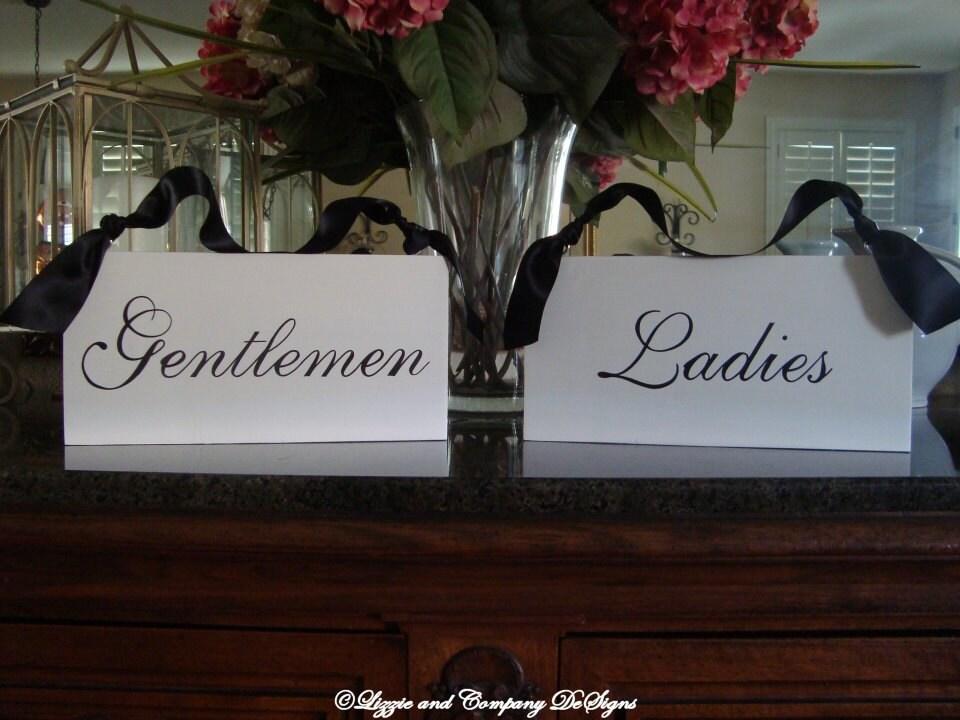 Restroom Signs Gentlemen And Ladies Room Signs Script