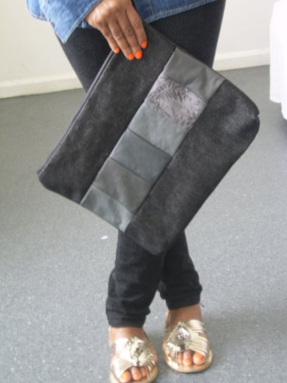 Black denim & leather large clutch bag, large black denim pouch, large grey leather clutch, large pouch, recycled  leather clutch