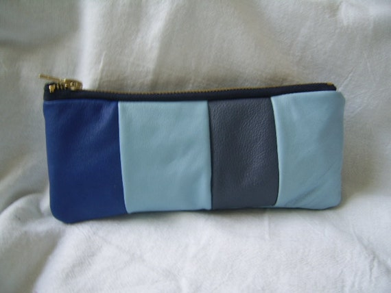 RESERVED FOR Chinad0ll, turquoise blue  leather recycled pouch,leather patchwork colour block, leather pencil case