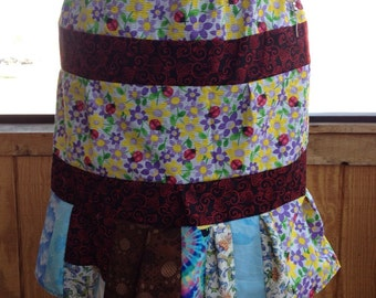 Calico Cotton Patchwork Knee Length Skirt