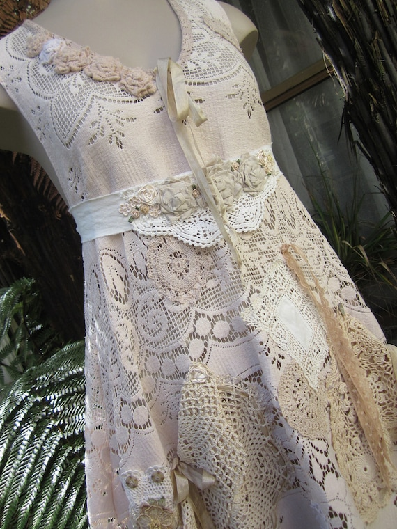RESERVED for SHERI.... Vintage Kitty.. Lily Hannah...upcycled floral lace tunic dress..roses.. crochet, doilies, ooak.. med - xl