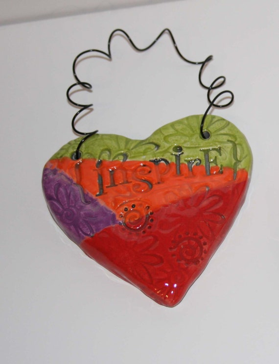 Hanging Clay Heart with Inspire Message