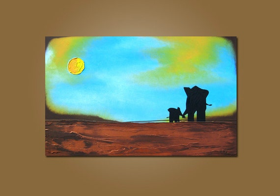 Holding On - HUGE 36 x 24, Heavy Textured Acrylic Art PAINTING on canvas, Contemporary Earthy Elephant Art, Kids Nursery