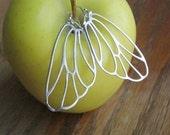 Butterfly Wing Earrings - Silver Earrings - Bridesmaid Earrings - Bridal Earrings - Bridesmaid Gift - Moth Wing Earrings