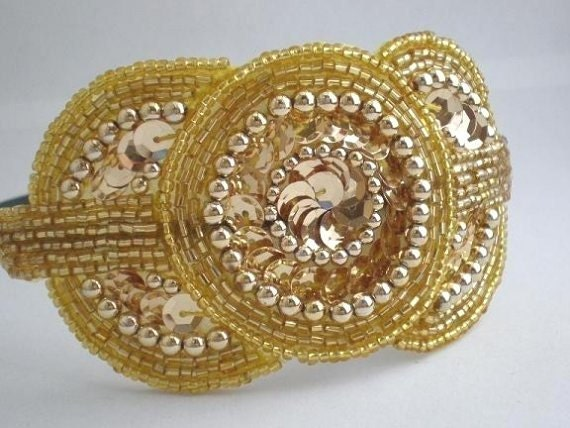Bridesmaid Headband - Art Deco Headband - Gold Triple Circle Sequin and Bead Headband - The Madeline