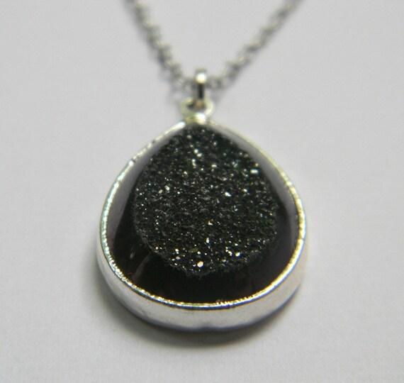 Black Marcasite Necklace - Black Druzy Pendant Necklace - Black Teardrop Necklace - Silver Filled - Gift - OOAK