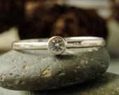 Precious White Sapphire 14k Palladium White Gold Engagement Ring, Diamond Alternative
