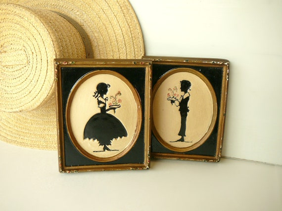 RESERVED FOR Luana Petrov - Vintage Chalkware Plaques Silhouette Pair