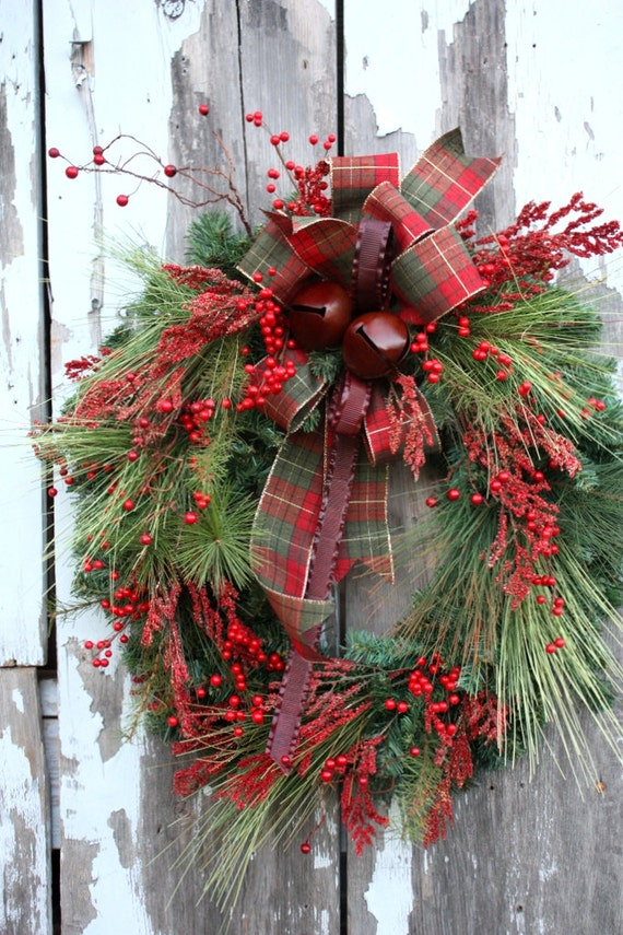 Christmas Wreath, Mixed Pine, Red Berries, Plaid Bow, Red Metal Ribbon Red Metal Jingle Bells