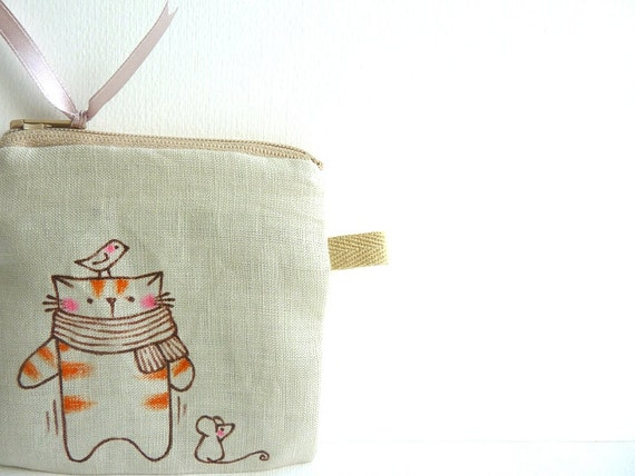 Cat Coin Purse, Illustrated Purse