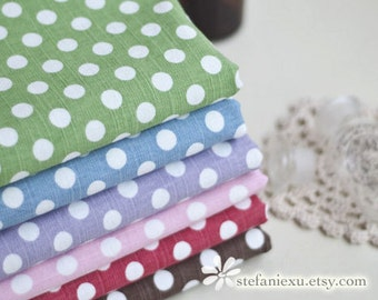 SALE Clearance Dots, Polka Dots Collection-Chic Polka Dots-Linen Cotton Blended Fabric (1/2 Yard)