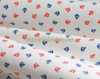 Nautical Marine, Chic Red and Blue Anchors On White-Linen Cotton Blended Fabric(Fat Quarter)