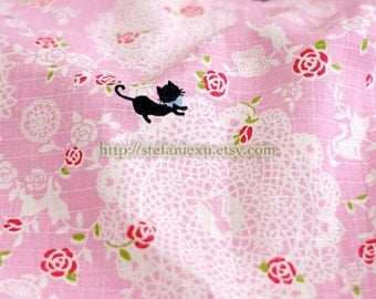 Victorian Style, Black Cat With Blue Bow, Roses and Lace Doily Patchwork-Linen Cotton Blended Fabric (Fat Quarter)