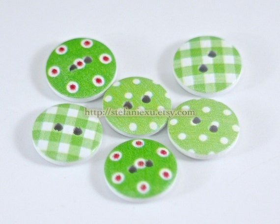Wooden Buttons - Chic Grass Green Swiss Dots Check Collection (6 in a set, D1.8CM)
