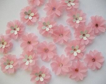 Paper Flowers Pink Vellum Flowers QTY 40