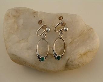Sterling Silver Oval Dangle Malachite Inlay Screwback Earrings