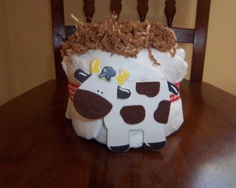 Cow Mini Diaper Cake