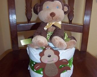 Monkey Mini Diaper Cake
