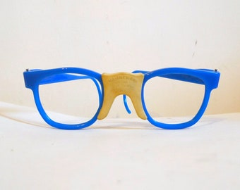 All American Blue and Yellow Nerd Glasses / Safety Glasses/ Vintage Eyeglasses - Vintage Sunglasses