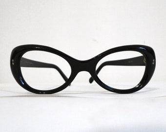 SALE Swank Frame France Expanded Black Cat Eye Eyeglasses Frame,Rocket Girl Bubble Mod Sunglasses